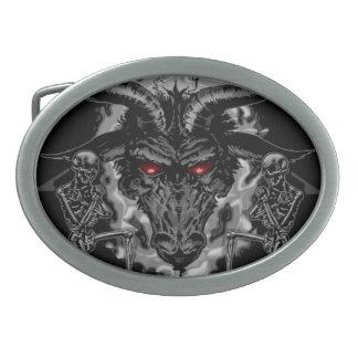 Metal negro Baphomet Hebilla De Cinturón Oval