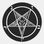 ¡metal negro, baphomet, señor de la oscuridad! pegatina redonda