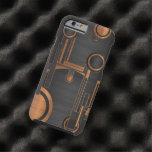 metal negro con los círculos de madera funda de iPhone 6 tough