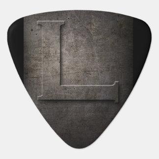 Metal negro L rústico púa de guitarra del