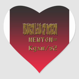Metal Newton Law Of Motion Heart Sticker