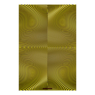 Metal on Yellow Optical Illusion Wall Art Lge
