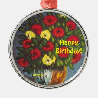 Metal Ornament Happy Birthday Flowers
