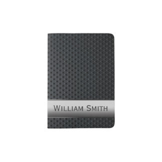 Metal oscuro rayado de acero porta pasaporte