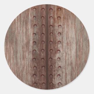 Metal oxidado clavado sucio pegatina redonda