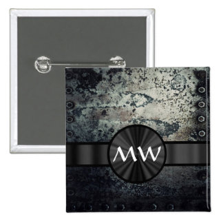 Metal oxidado con monograma pin cuadrada 5 cm