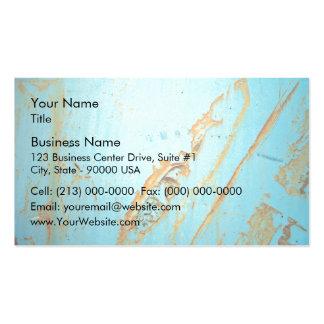 Metal oxidado con una grieta del azul tarjetas de visita
