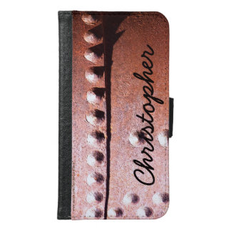 Metal oxidado de la caja de la cartera de la