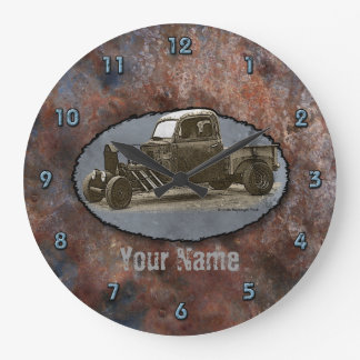 Metal oxidado del camión de Ratrod Reloj Redondo Grande