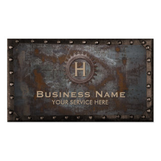 Metal oxidado del monograma del vintage de la tarjetas de visita