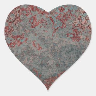 Metal oxidado viejo texturizado pegatina en forma de corazón