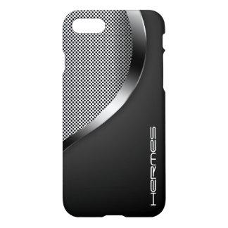 metal perforado brillante personalizado por nombre funda para iPhone 7
