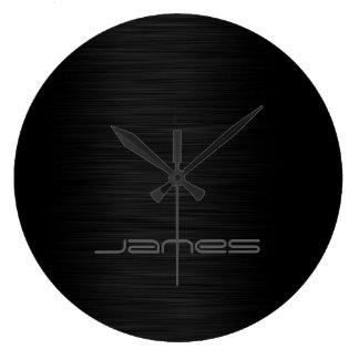 metal perforado elegante oscuro personalizado por reloj redondo grande