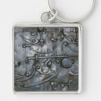 Metal pesado del hierro del Grunge Llavero Cuadrado Plateado