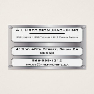 Metal Plate and Rivets - Silver Business Card