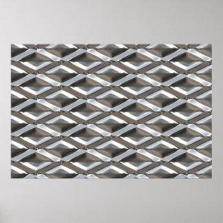 Metal plateado cromo de forma diamantada inconsúti póster