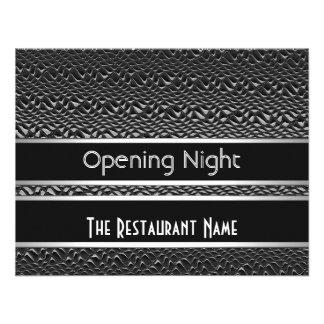 Metal plateado del negro de la noche de la inaugur