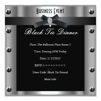 Metal plateado formal del lazo negro del negocio invitación 13,3 cm x 13,3cm