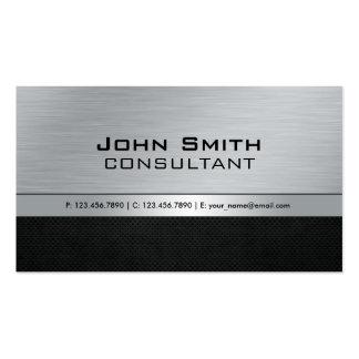 Metal plateado negro moderno elegante profesional tarjetas de visita