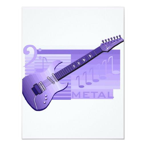 """metal purple.png de la guitarra eléctrica invitación 4.25"""" x 5.5"""""""
