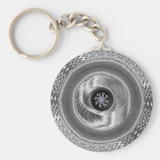 Metal que remolina - diseño extranjero del arte llavero redondo tipo pin