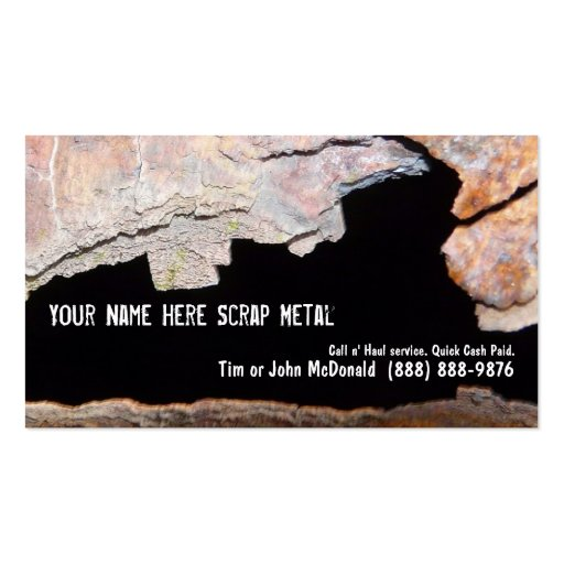 Metal recycling business card templates bizcardstudio metal recycler scrap rusted pipe business card reheart Choice Image