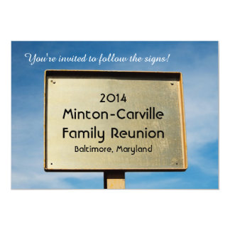 Metal Road Sign Reunion Party Invitation