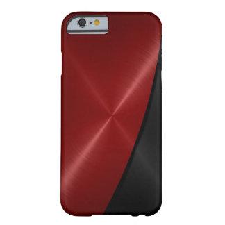 Metal rojo y negro del acero inoxidable funda de iPhone 6 barely there