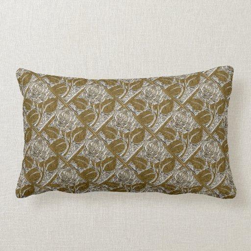 Metal Roses-01-Silver Gold-Lumbar Throw Pillow Zazzle