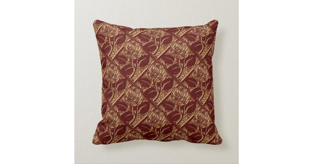 Metal Roses-04-Brick Red-Square Throw Pillow Zazzle