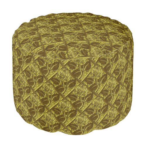 Metal Roses 09 Green Gold-Round Pouf Seat