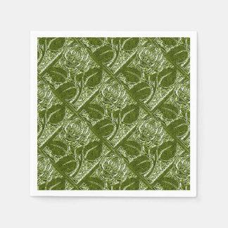 Metal Roses-12-Olive Green-Paper Cocktail Napkins