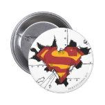Metal roto superhombre pin redondo 5 cm