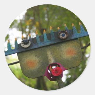 metal sculpture garden face on rake neat design stickers