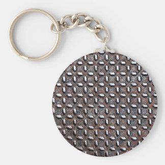 Metal Sheet Rusty Antique Junk Style Fashion Art Basic Round Button Keychain