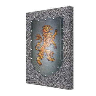 Metal Shield Chainmail Background Lion Canvas Print