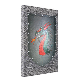 Metal Shield Dragon Chainmail Background Canvas Print