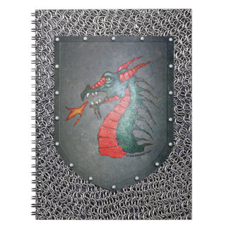 Metal Shield Dragon Chainmail Background Notebook
