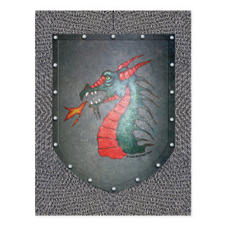 Metal Shield Dragon Chainmail Background Postcard