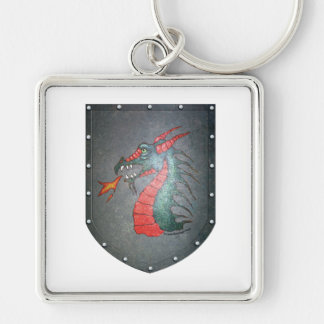 Metal Shield Dragon Head Keychain