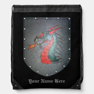 Metal Shield Dragon Head on Black Drawstring Bag
