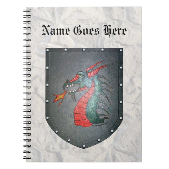 Metal Shield Dragon Light Gray Stone Notebook