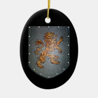 Metal Shield Lion Black Design Ceramic Ornament