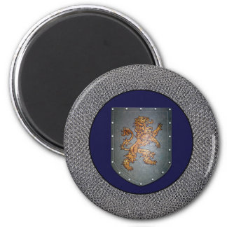 Metal Shield Lion Chainmail 2 Inch Round Magnet