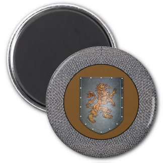 Metal Shield Lion Chainmail Border 2 Inch Round Magnet