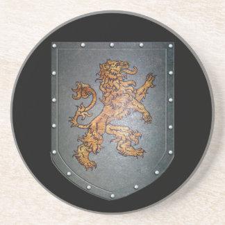 Metal Shield Lion Drink Coasters
