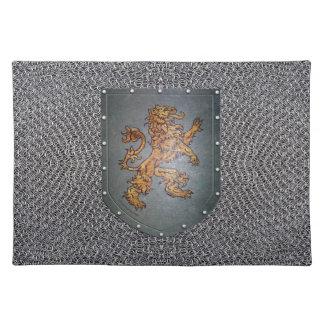 Metal Shield Lion Faux Chainmail Placemats