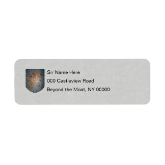 Metal Shield Lion Gray Faux Parchment Label