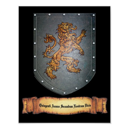 Metal Shield Lion Latin on Black Poster