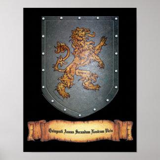 Metal Shield Lion Latin Poster